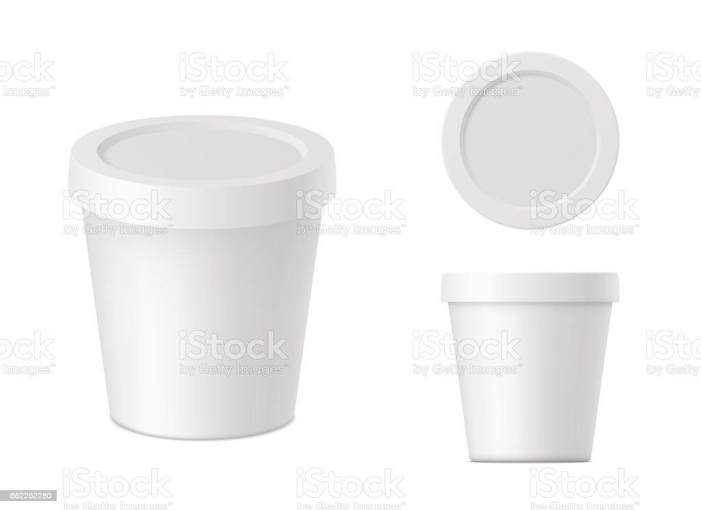 Vector realistic white cream container vector art illustration