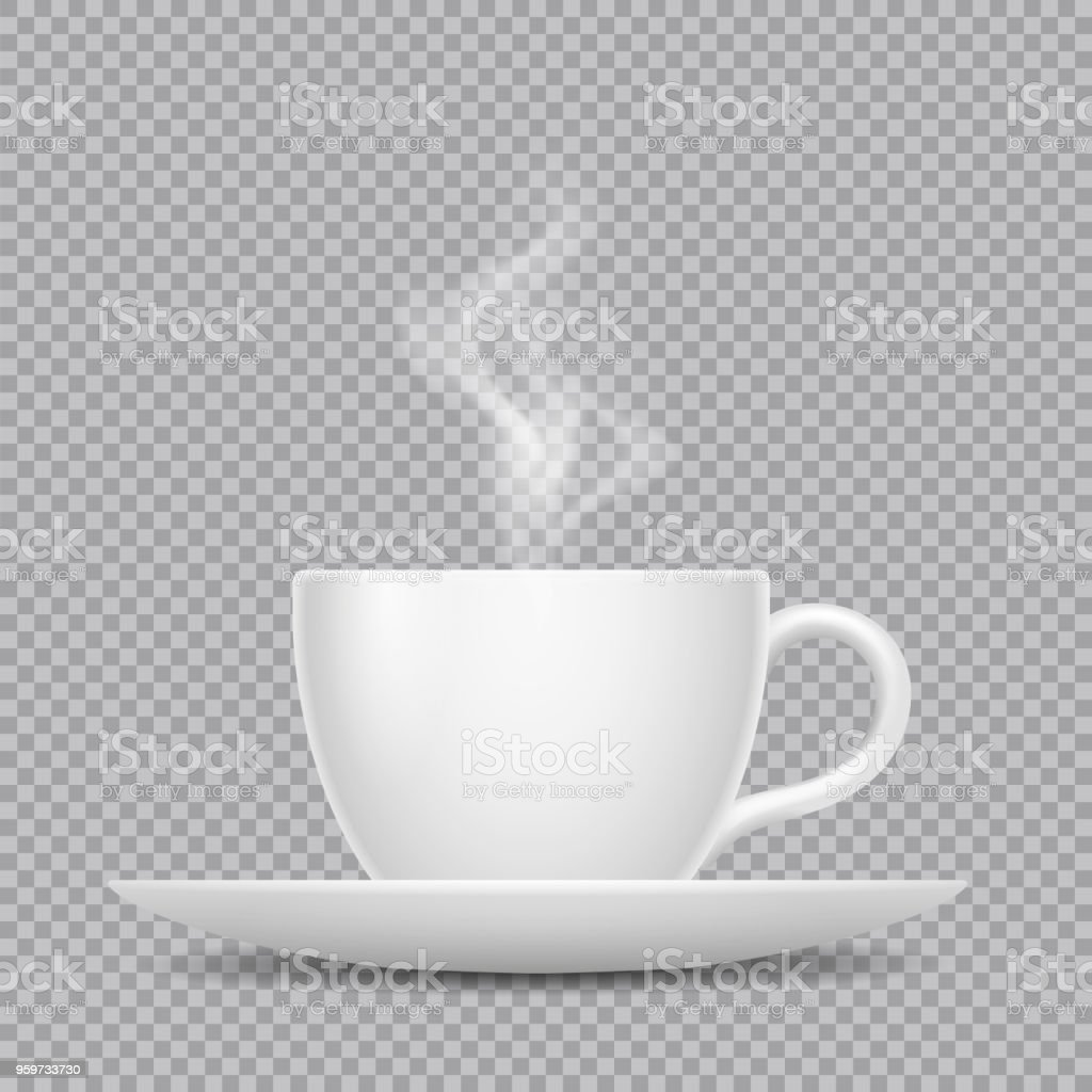 Vector realistic white cup with hot beverage and steam isolated on transparent background vector art illustration