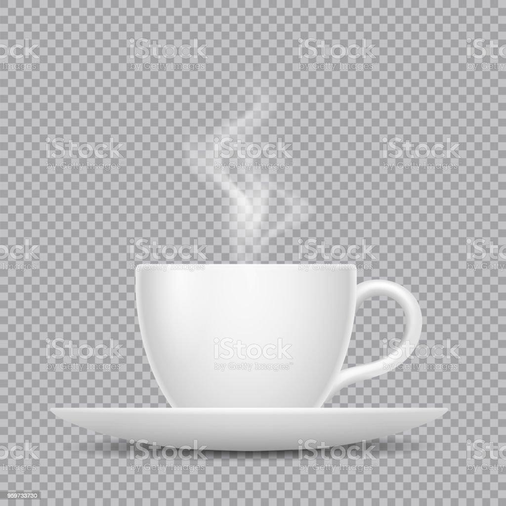 Vektör gerçekçi beyaz fincan sıcak içecek ve şeffaf arka plan üzerinde izole Buhar ile vektör sanat illüstrasyonu