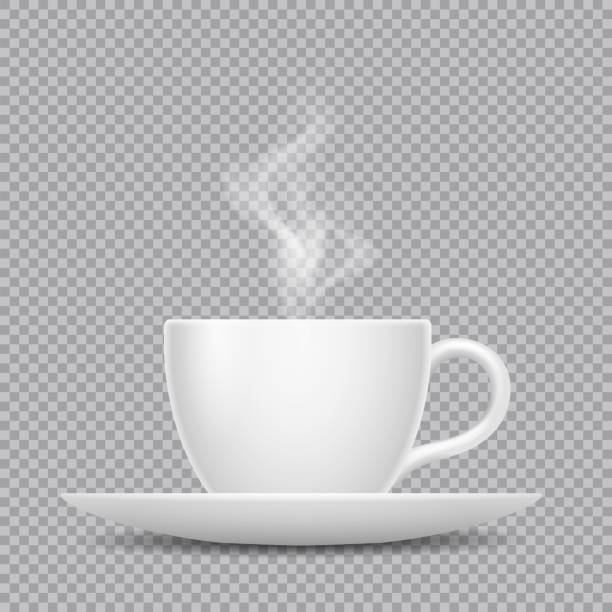 vector realistic white cup with hot beverage and steam isolated on transparent background - para formy wodne stock illustrations