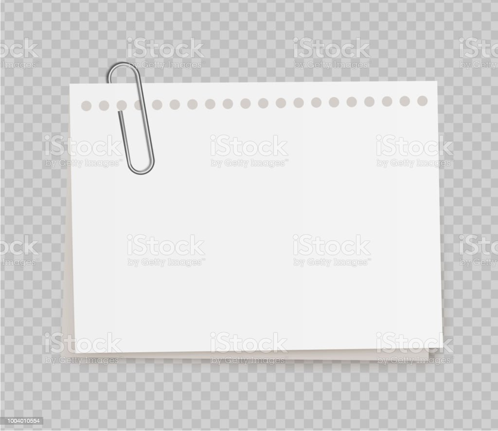 vector realistic white note paper from note pad with paper clip on