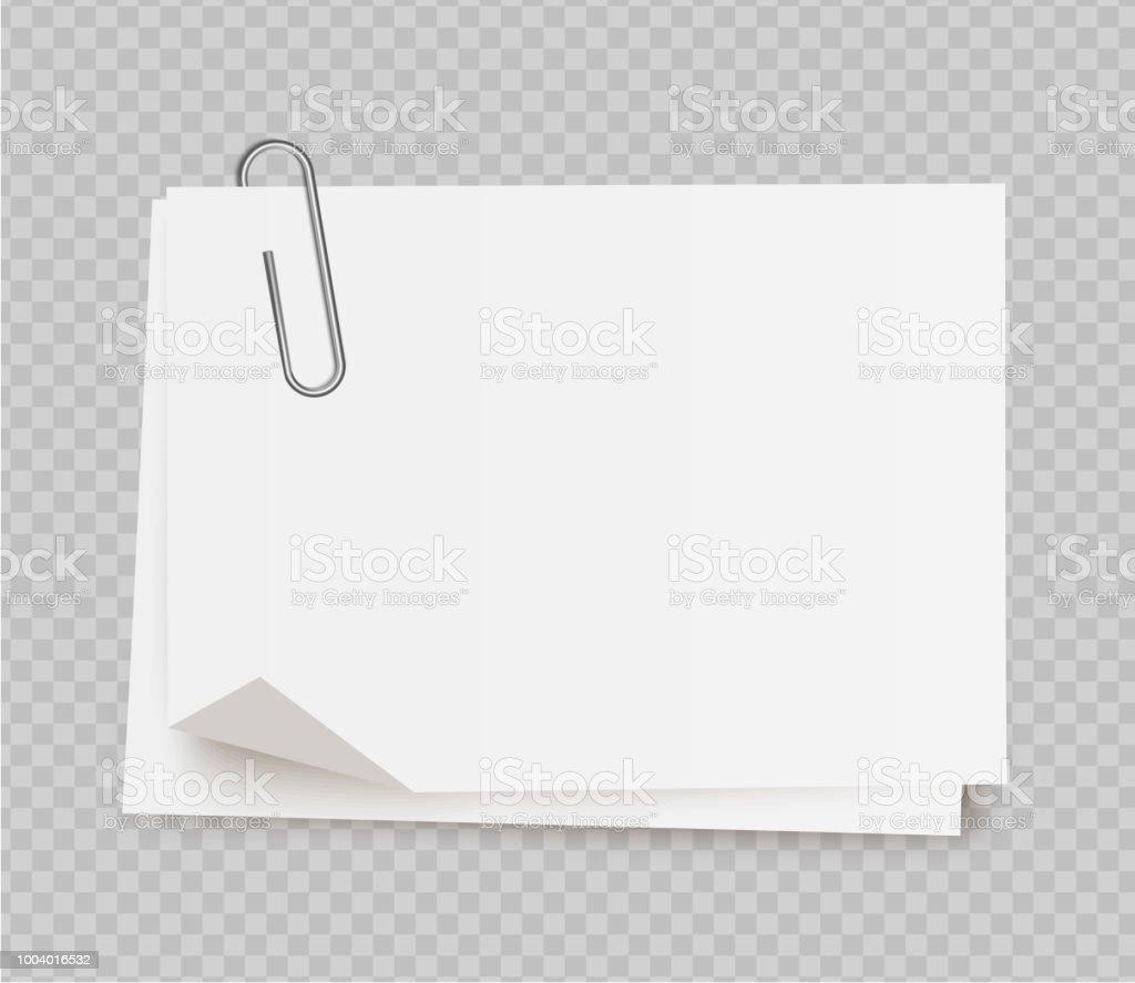 Vektor realistische weißen Notizpapier mit Büroklammer auf transparenten Hintergrund. - Lizenzfrei Bewegungsaktivität Vektorgrafik