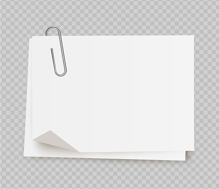 Vector realistic white note paper with paper clip on transparent background.