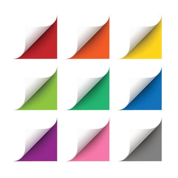 vektor-realistisches weißbuch-ecken-set - buchseite stock-grafiken, -clipart, -cartoons und -symbole
