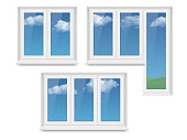 Vector set of realistic white plastic closed windows and light blue sky with white clouds outside them. Realistic illustration isolated on white background.