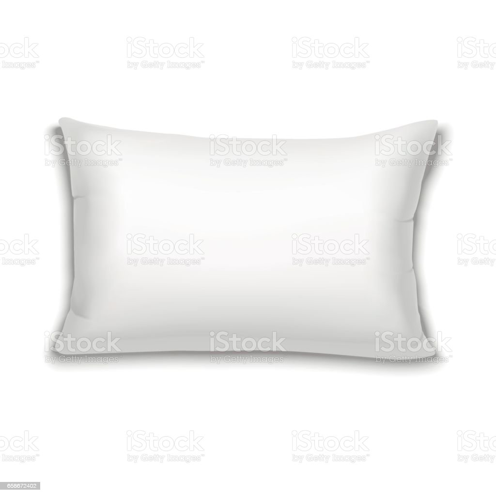 vector realistic white rectangular pillow vector art illustration