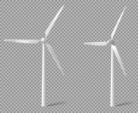 Wind turbine front and angle view. Alternative renewable power generation, green energy concept. Vector realistic mockup of windmill with white vanes isolated on transparent background