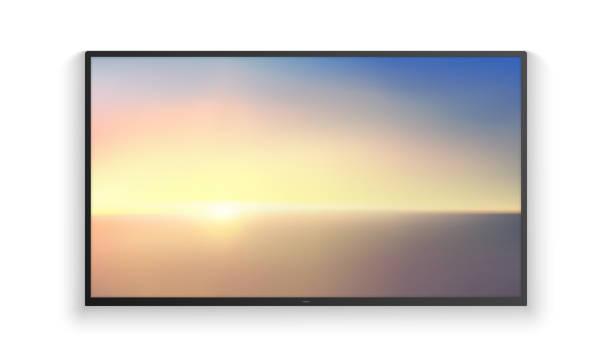 stockillustraties, clipart, cartoons en iconen met vector realistische groothoek smart hd tv aan de muur. blue aerial panoramisch uitzicht op de zonsopgang boven de oceaan. led 3d-scherm geïsoleerd op witte achtergrond. sunrise aquarel gradatie. - hdri landscape