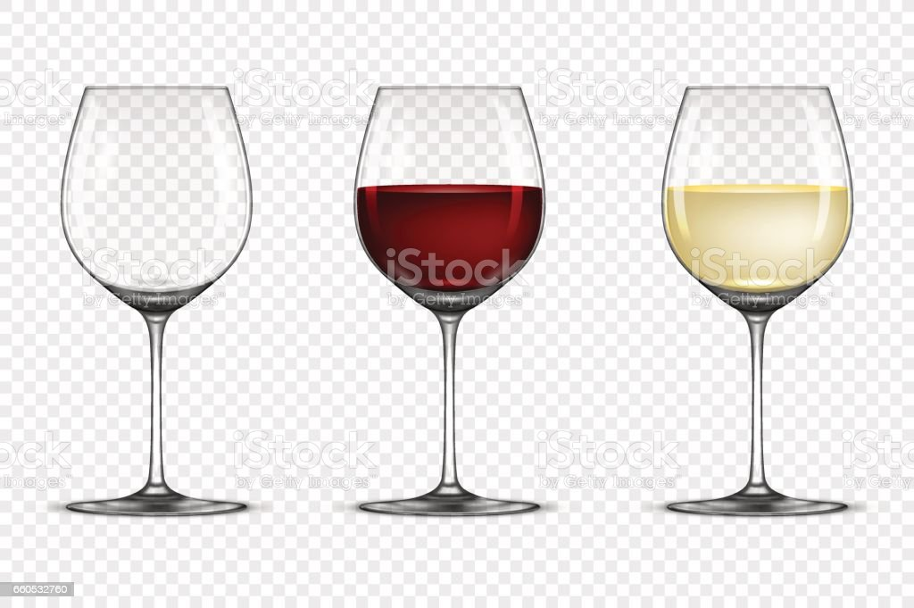 Vector realistic wineglass icon set - empty, with white and red wine, isolated on transparent background. Design template in EPS10 vector art illustration
