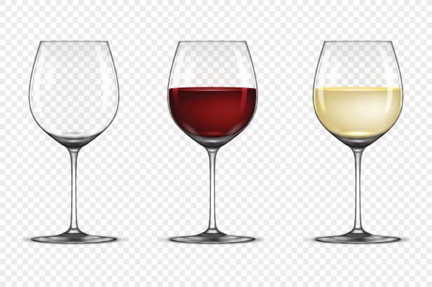 bildbanksillustrationer, clip art samt tecknat material och ikoner med vector realistiska vinglas ikonuppsättning - tom, med vitt och rött vin, isolerad på transparent bakgrund. formgivningsmallen i eps10 - vitt vin glas