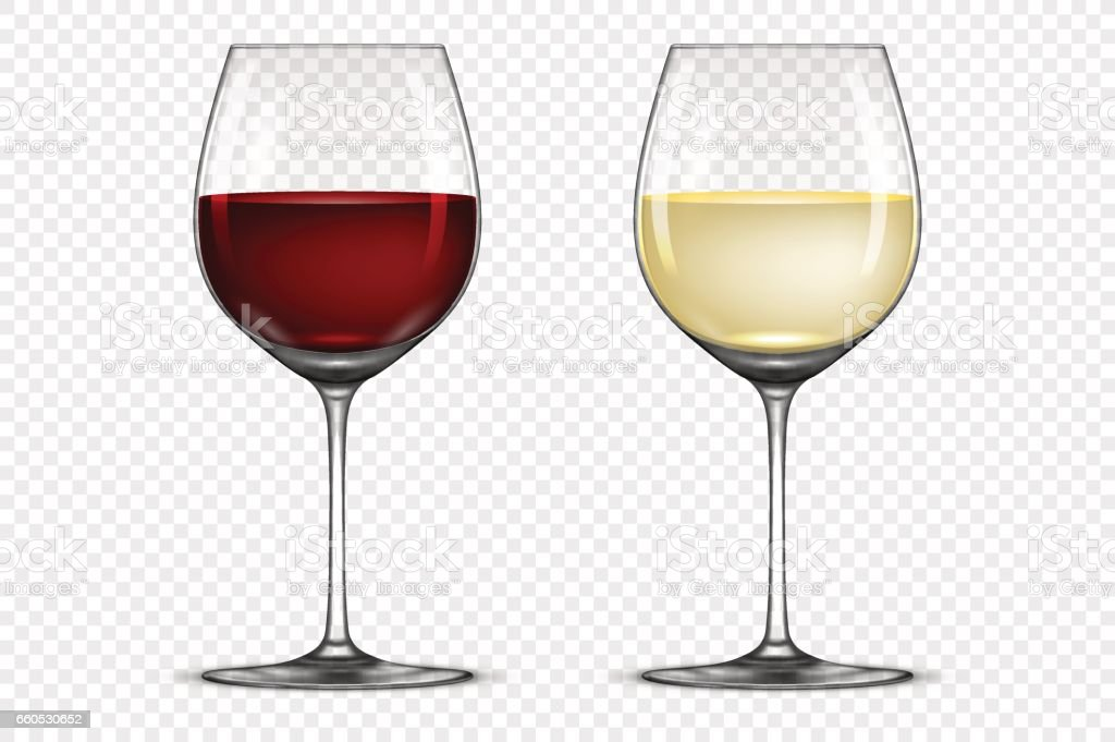 Vector realistic wineglass icon set - with white and red wine, isolated on transparent background. Design template in EPS10 vector art illustration