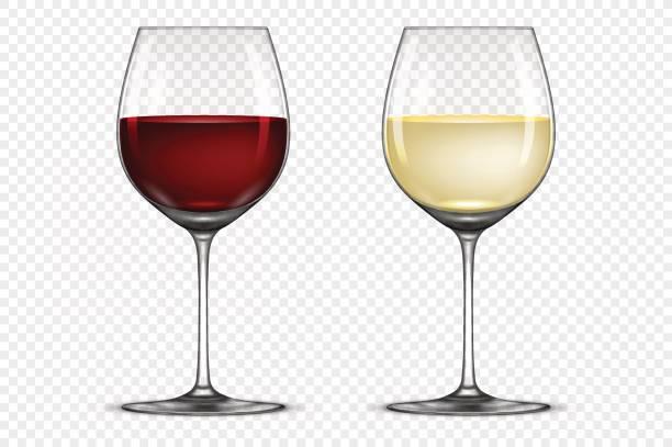 bildbanksillustrationer, clip art samt tecknat material och ikoner med vector realistiska vinglas ikonuppsättning - med vitt och rött vin, isolerad på transparent bakgrund. formgivningsmallen i eps10 - vitt vin glas