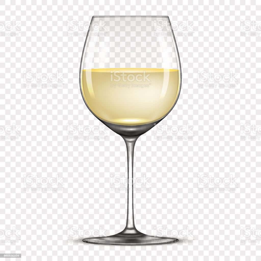 vector realistic wineglass with white wine icon isolated