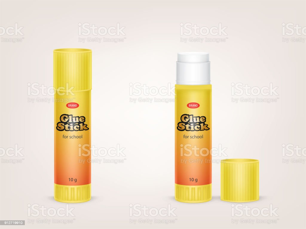 Vector realistic yellow tubes of glue stick vector art illustration