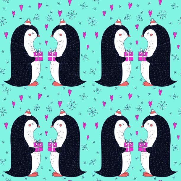 ilustrações de stock, clip art, desenhos animados e ícones de vector reamless pattern with christmaas penguin - christmaas