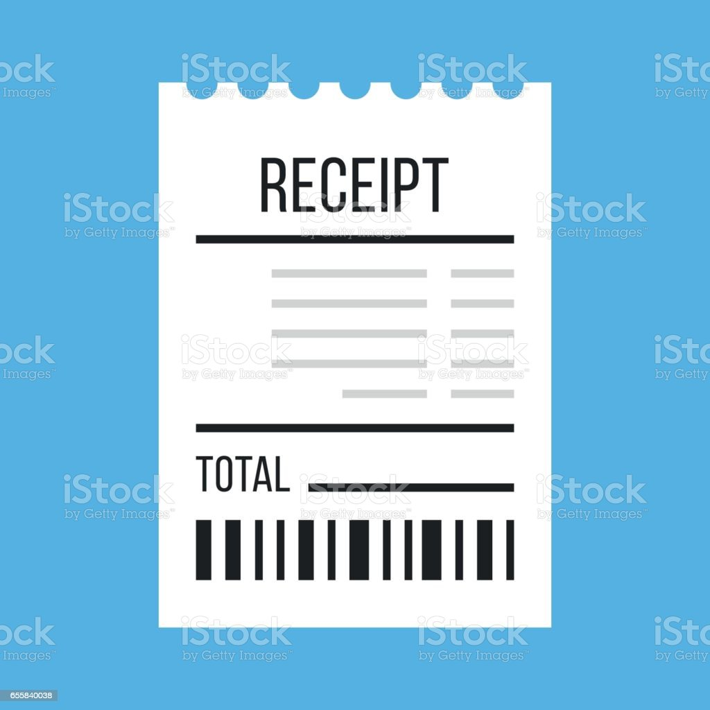 Vector receipt icon. Flat design vector illustration vector art illustration