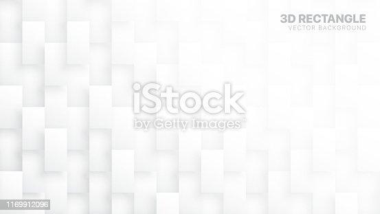 3D Vector Rectangle Blocks Conceptual Tech White Abstract Background. Science Technology Three Dimensional Tetragonal Structure Sci-Fi Light Wallpaper. Clear Blank Subtle Textured Backdrop