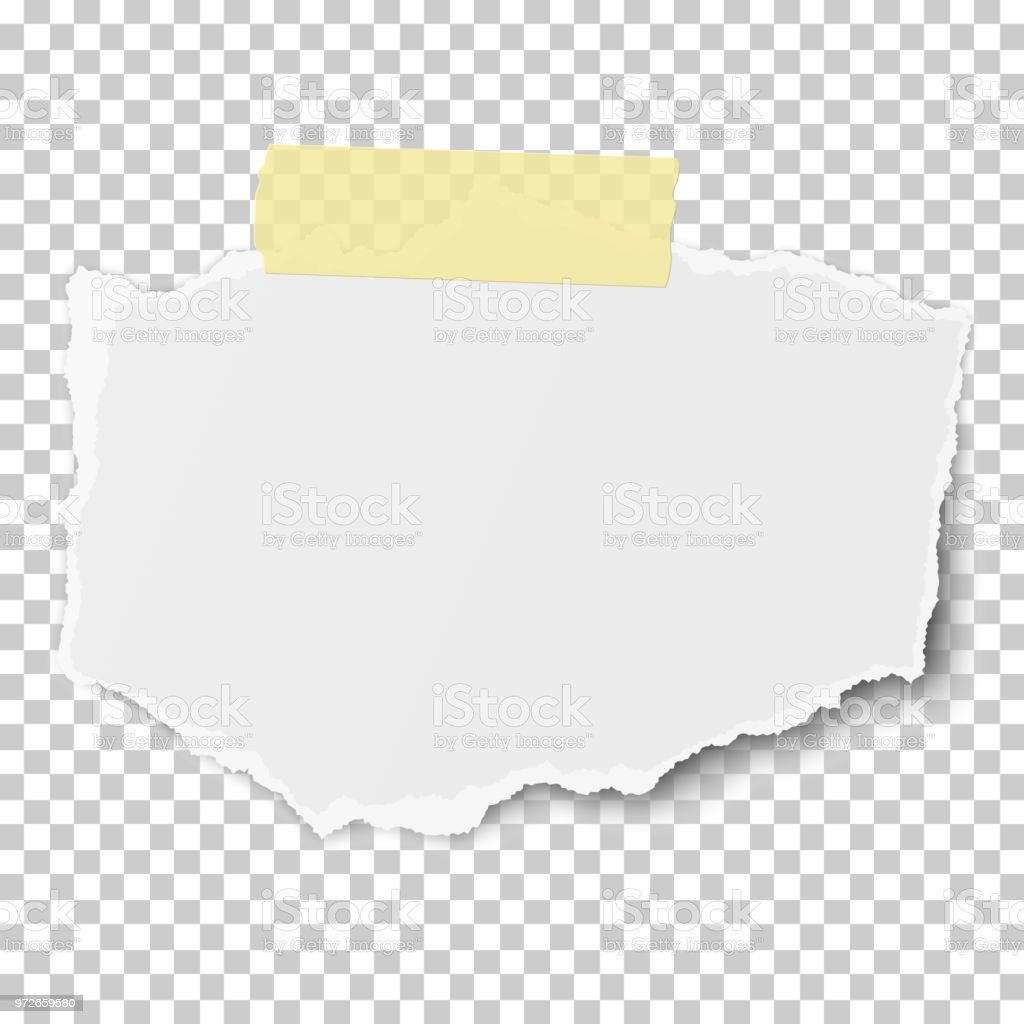 vector rectangular torn piece of paper with soft shadow on