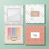 Vector Recyclable Paper Square Eyeshadow Palette with Mirror & Geometric Pattern