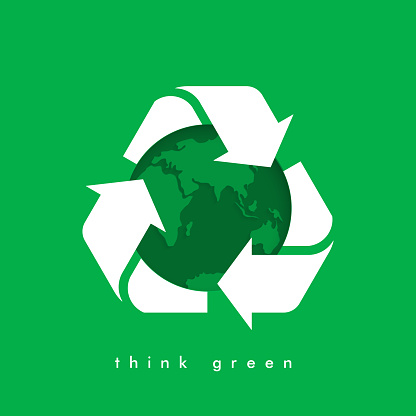 Vector recycling arrows with the Earth planet.