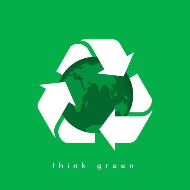 Vector recycling arrows with the Earth planet. Garbage recycling logo. Vector recycling arrows with the Earth planet. Reuse Reduce Recycle. Earth day. Conscious consumption. earth day stock illustrations