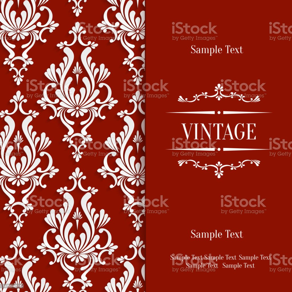 Vector red 3d vintage invitation card with floral damask pattern vector red 3d vintage invitation card with floral damask pattern royalty free vector red 3d stopboris Image collections