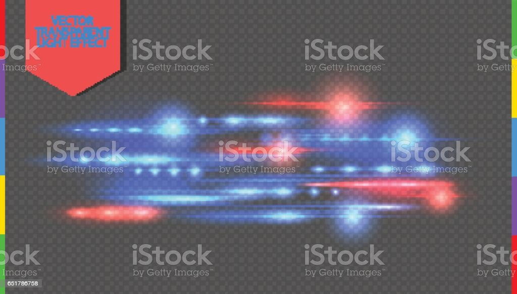 Vector red and blue special effect. Glowing streaks on transparent background. Beautiful glow light flare and spark. Luminous abstract sparkling lined night disco club wallpaper vector art illustration