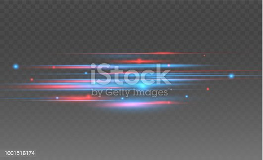 Vector red and blue special effect. Luminous stripes on a transparent background. Beautiful glow glow and spark.particle motion effect.