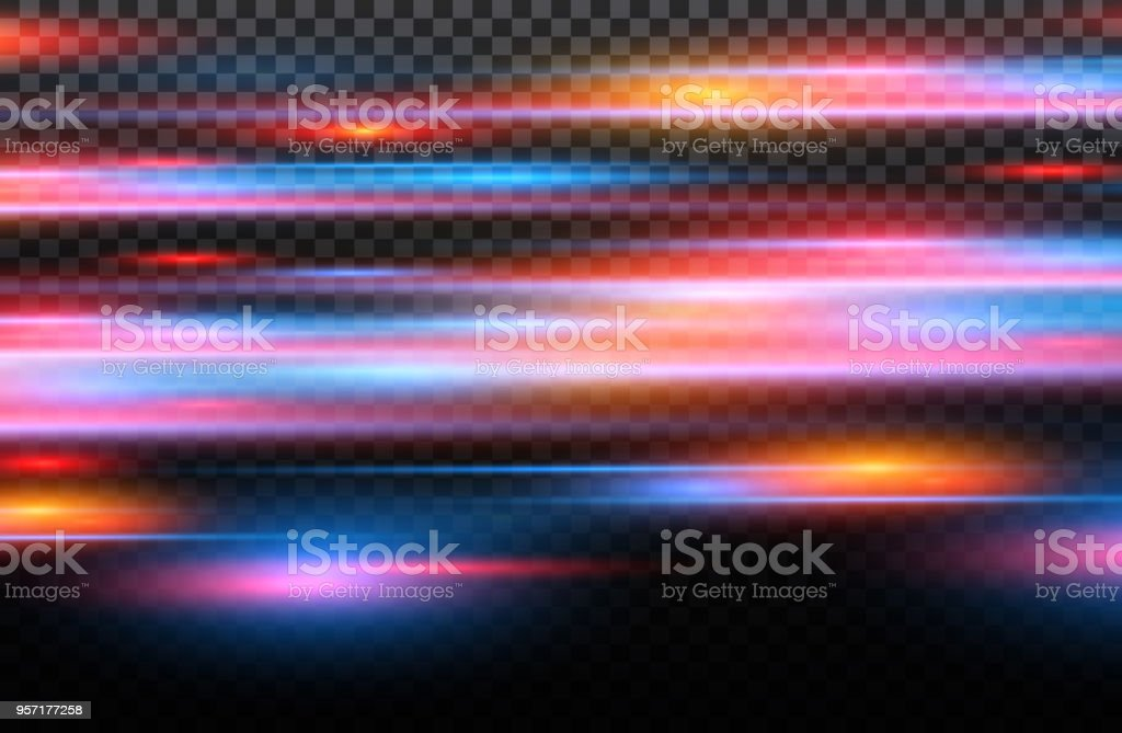 Vector red and blue special effect. Luminous stripes on a transparent background. Beautiful glow glow and spark.particle motion effect vector art illustration