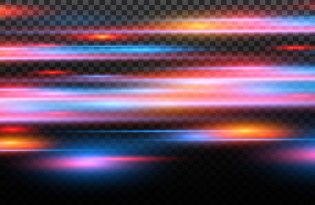 illustrazioni stock, clip art, cartoni animati e icone di tendenza di vector red and blue special effect. luminous stripes on a transparent background. beautiful glow glow and spark.particle motion effect - polizia
