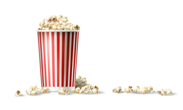 Vector red and white cardboard bucket with popcorn in realistic style Vector illustration of a red and white cardboard bucket with popcorn in a realistic style isolated on white popcorn stock illustrations