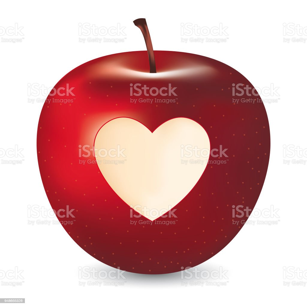 Vector Red Apple With Heart Symbol Stock Vector Art More Images Of