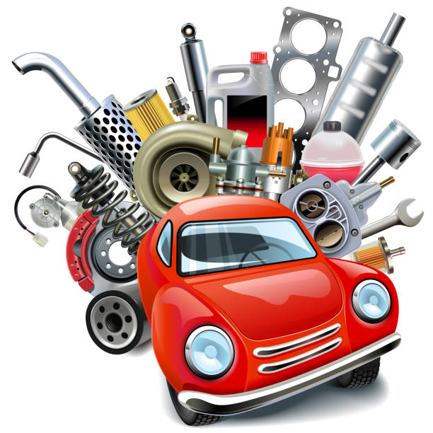 stockillustraties, clipart, cartoons en iconen met vector rode auto's met auto spares - reserveonderdeel