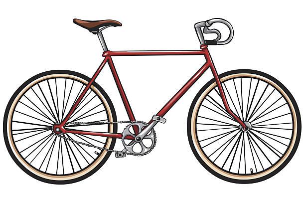 ilustraciones, imágenes clip art, dibujos animados e iconos de stock de vector rojo bicicleta - bastidor de la bicicleta