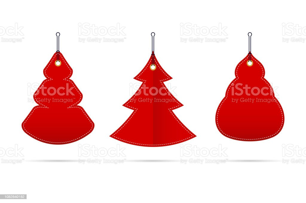 Vector Red Blank Sale Tags In The Form Of Christmas Trees Of