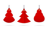Vector Red Blank Sale Tags in the Form of Christmas Trees of Different Shapes. Christmas and New Year Design Elements