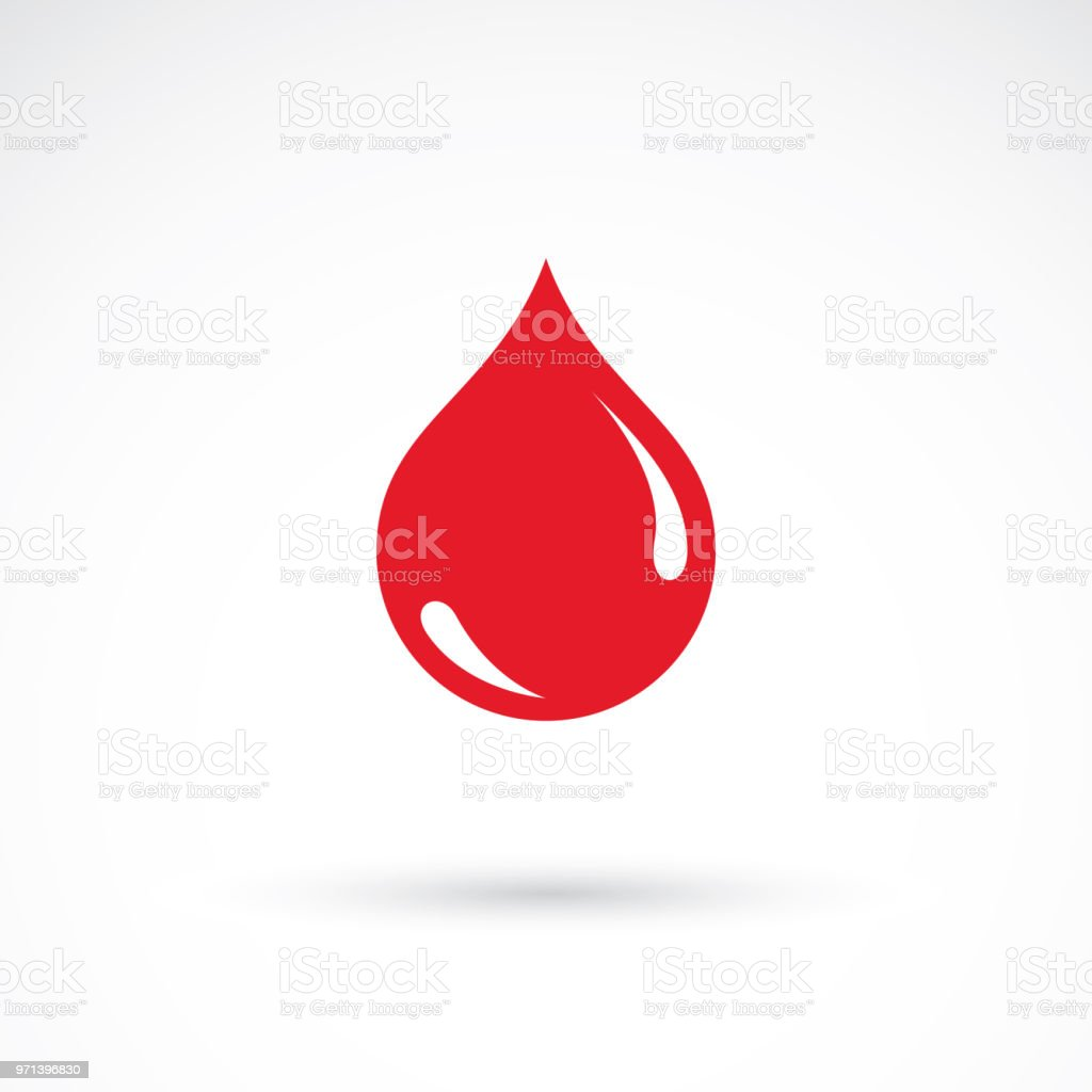 Vector red blood drop illustration isolated on white. Hematology theme, medical treatment design for use in medicine, rehabilitation or pharmacology. vector art illustration