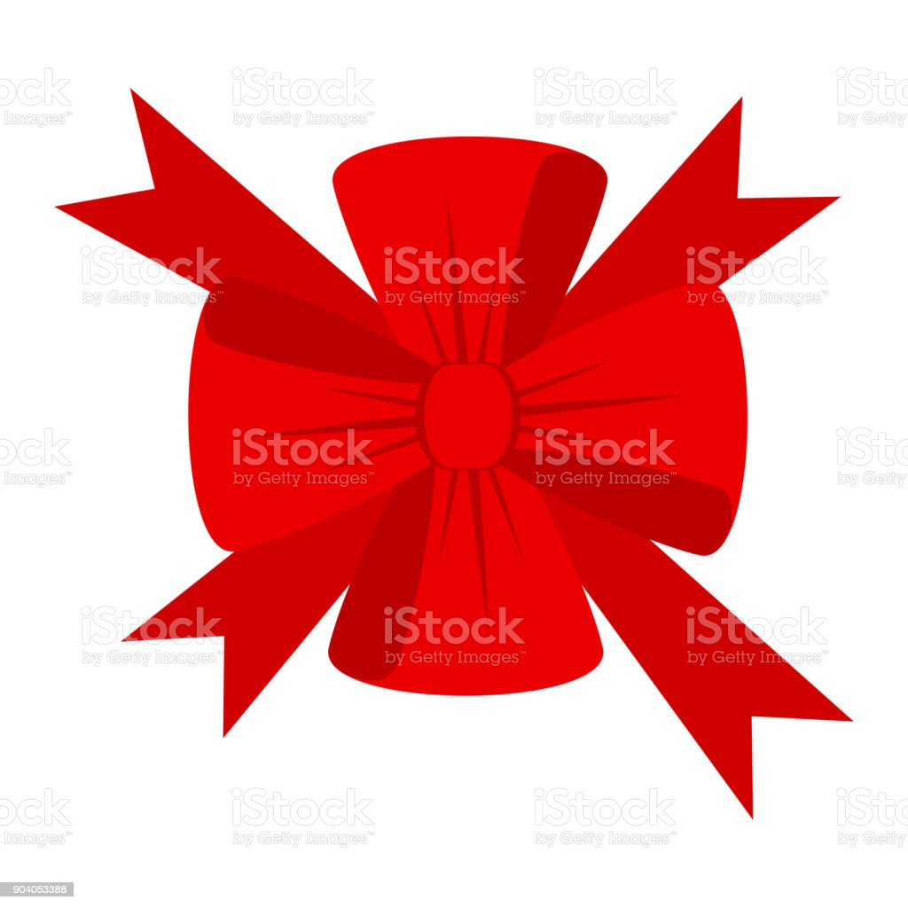 Vector red bow for decorating gifts vector art illustration
