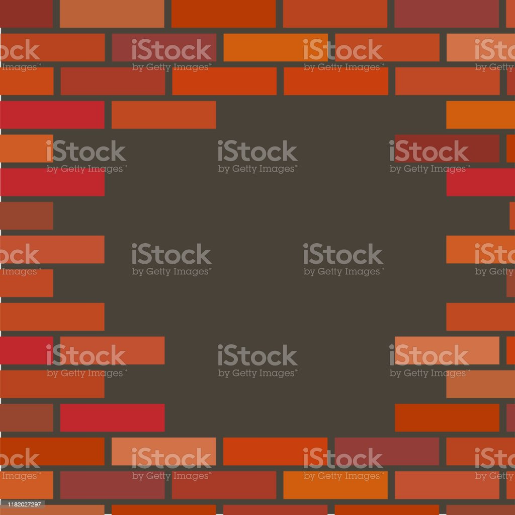 vector background of red brick wall with a hole. Illustration of a...