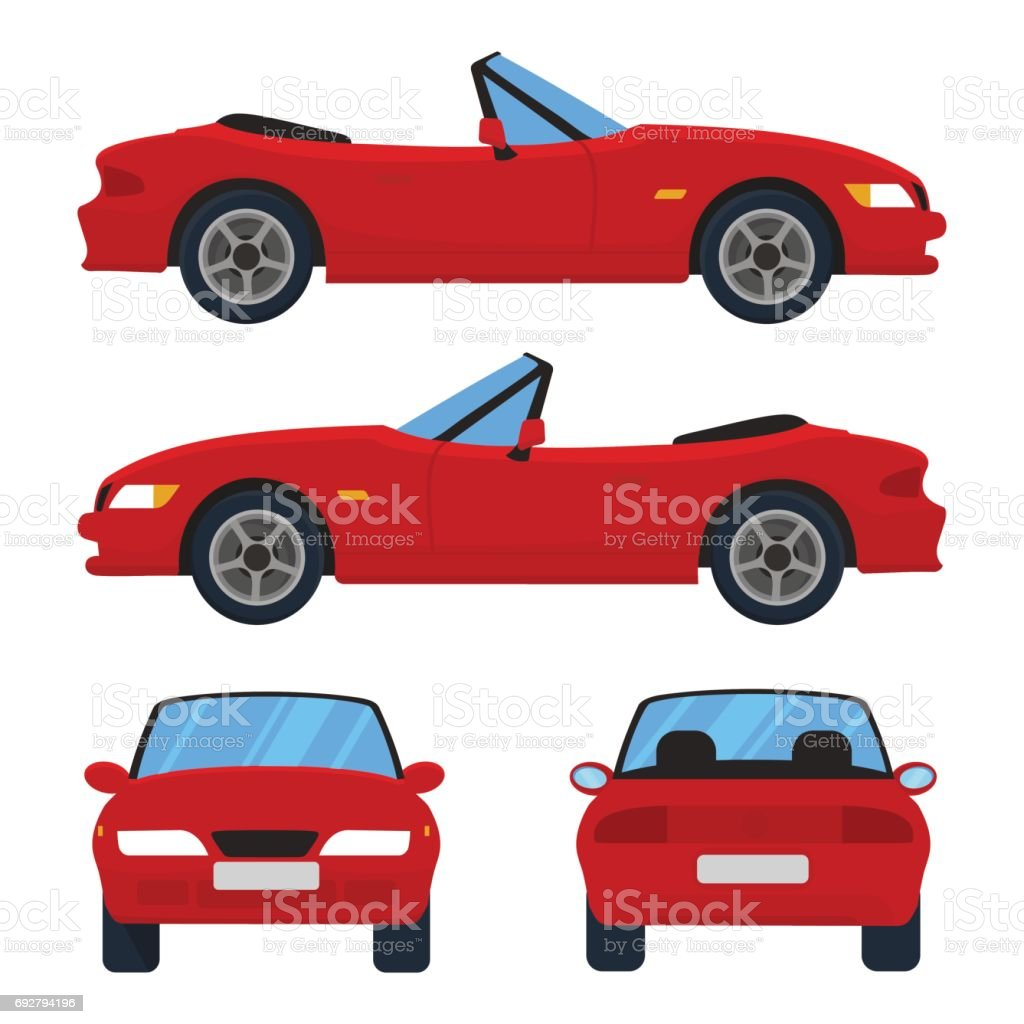 Vector red cabriolet car, four views, top, side, back, front.