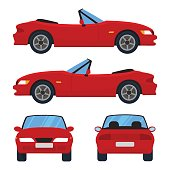 Vector red cabriolet car, four views, top, side, back, front. Car icon isolated on white background. Flat design.