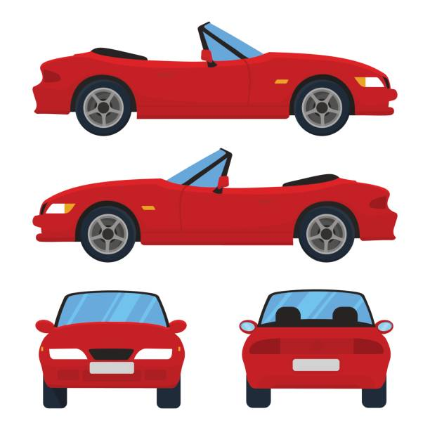 Vector red cabriolet car, four views, top, side, back, front. Vector red cabriolet car, four views, top, side, back, front. Car icon isolated on white background. Flat design. convertible stock illustrations