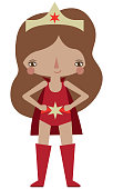 Vector red caped superhero graphic editable illustration. Use for scrapbooking, crafting, quilting, print on demand, fabric, textiles, stationery