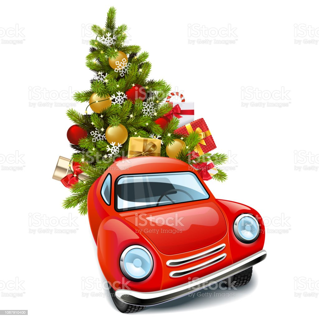 Auto Weihnachtsbaum.Vektorrotes Auto Mit Weihnachtsbaum Stock Vektor Art Und Mehr Bilder Von Auto