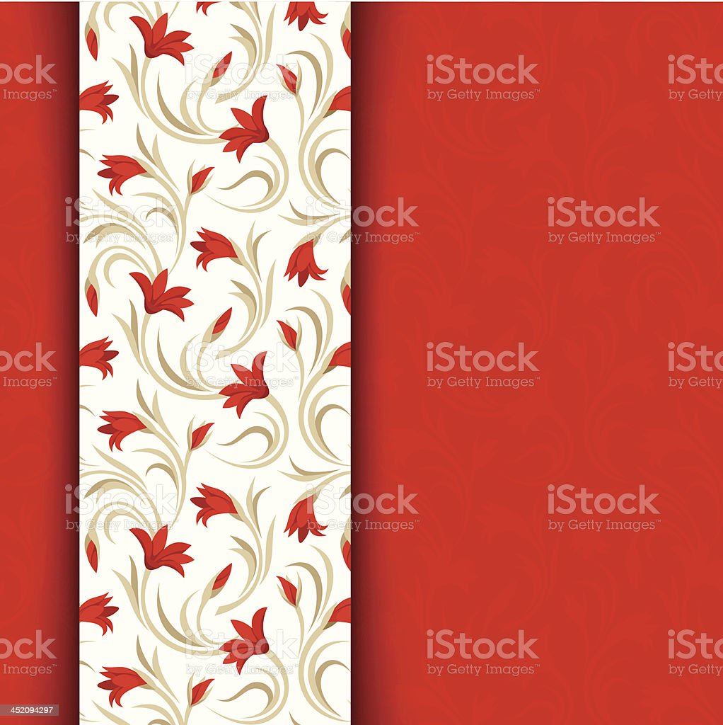 Vector red card with floral pattern. royalty-free stock vector art