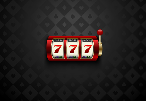 Vector red casino slot machine with lucky seven . Dark silk geometric card suits background. Online casino web banner, logo or icon. Winner casino poster