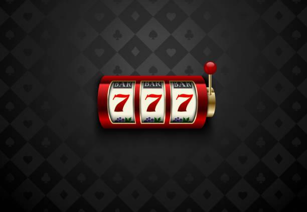 Vecteur rouge casino machine à sous avec sept chanceux. Carte géométrique soie foncé convient à fond. Bannière web casino en ligne, un logo ou icône. Affiche de casino gagnant - Illustration vectorielle
