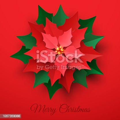 Vector Red Christmas Poinsettia Flower in paper cut style on red background. Happy New year and merry Christmas greeting card design template
