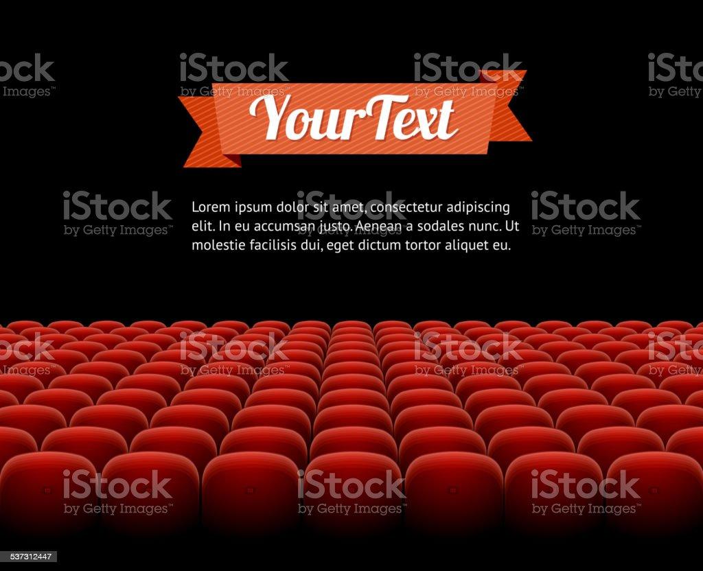 Vector red cinema, theatre seats vector art illustration