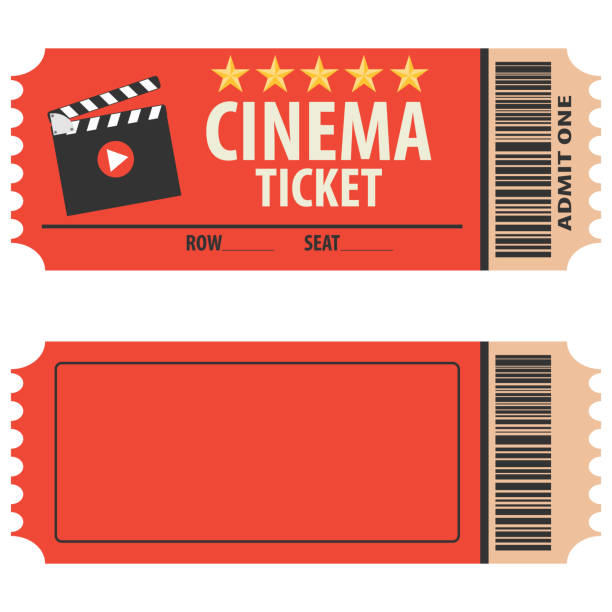 Vector red cinema ticket isolated on white background. Cinema ticket, skip to watch movies, realistic look. Cinema ticket movie coupon admit film entertainment. Vector red cinema ticket isolated on white background. Cinema ticket, skip to watch movies, realistic look. Cinema ticket movie coupon admit film entertainment. movie ticket stock illustrations